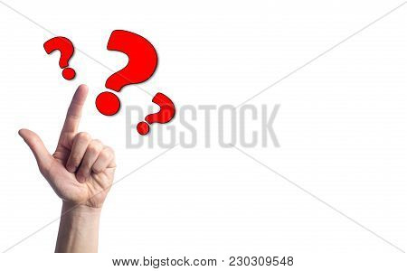Finger Points To Question Marks On White Isolated Background. Concept Of The Question. The Problem O