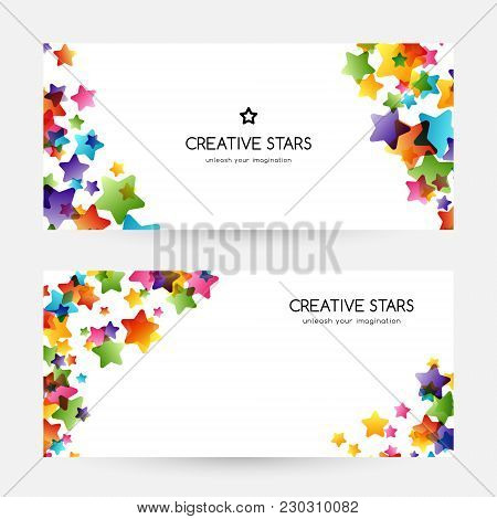 Creative Kids Design Collection. Vector Cards With Colorful Stars,  Decoration Elements. Horizontal