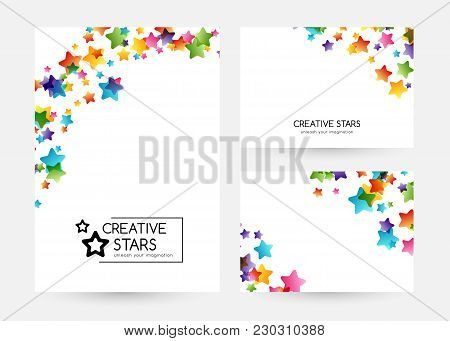 Creative Kids Design Collection. Vector Cards With Colorful Stars,  Decoration Elements. Vertical Ba