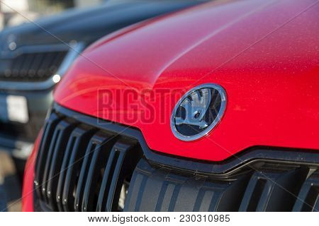 Nuernberg / Germany - March 4, 2018: Skoda Logo On A Skoda Car At A Car Dealer In Germany. Skoda Is
