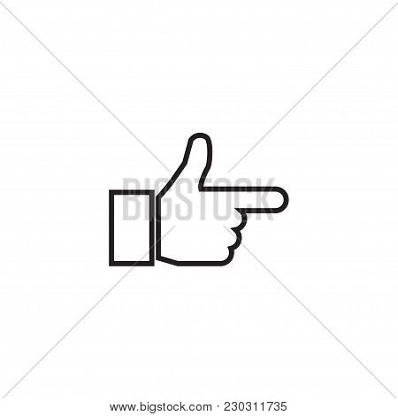 Point Right Hand Gesture Linear Icon. Thin Line Illustration. Index Finger. Forefinger Contour Symbo