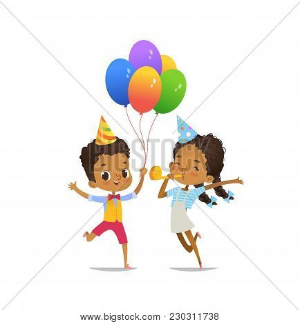 Happy African-american Kids With The Balloons And Birthday Hat Happily Jumping With Their Hands Up A