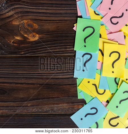 Colorful Question Marks Background Written Reminders Tickets. Ask Or Business Concept With Copy Spac