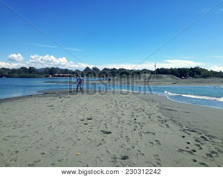 Amazing Place Ti Visit. Ada Bojana Montenegro, River And Sea And Perfect Sandy Beach. Blue Sky With