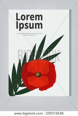 Red Poppy Flat Vector Icon. 9 May. Stylized Flower Symbol. -stock Vector
