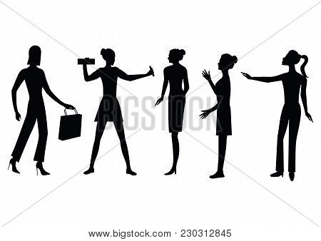 Set Of Silhouettes Of Women, Modern, Characteristic, - Isolated On White Background - Art, Creative,