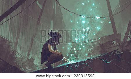 Apocalypse Concept Of The Man With A Gas Mask Creating Fairy Light Butterflies With Magic, Digital A