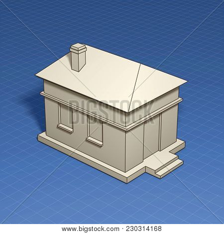 Home Symbol With Dimension Lines. Element Of Blueprint Drawing In Shape Of House Sign. 3d Illustrati