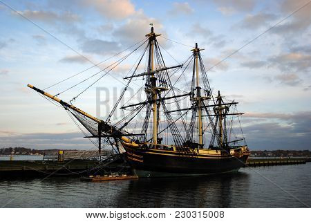 Friendship Of Salem At Sunset, In The Salem Maritime Historic Site.