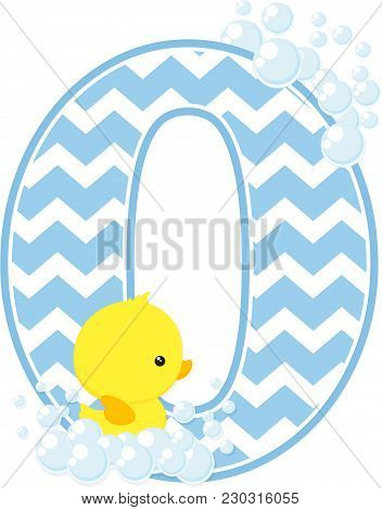 Number 0 With Bubbles And Little Baby Rubber Duck Isolated On White Background. Can Be Used For Baby