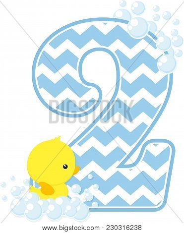 Number 2 With Bubbles And Little Baby Rubber Duck Isolated On White Background. Can Be Used For Baby