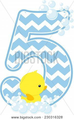 Number 5 With Bubbles And Little Baby Rubber Duck Isolated On White Background. Can Be Used For Baby