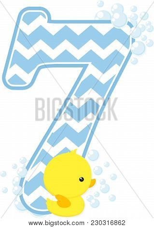 Number 7 With Bubbles And Little Baby Rubber Duck Isolated On White Background. Can Be Used For Baby