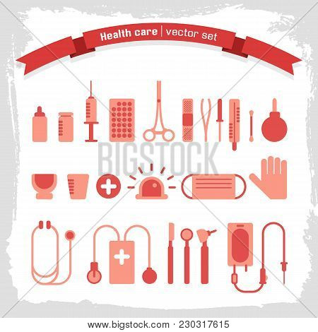 Medical Icons Set With Various Tools In Red Color On White And Grey Textured Background Flat Isolate