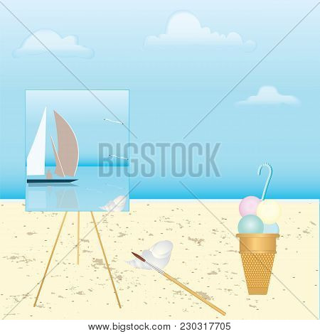 Shore Of The Sea, Easel With A Picture Of A Sea Landscape With A Sailboat, On The Sand Tassel, Shell
