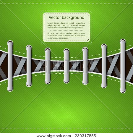 Hipster Footwear Template With Gray Laces On Green Slanting Lines Background Vector Illustration