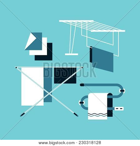 Clothes Dryer, Towel Warmer. Flat Design. Vector Icons.