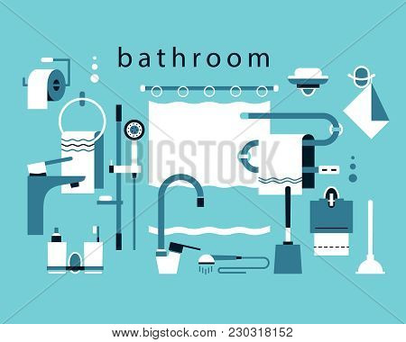 Bathroom Accessories. Shower Stand, Bathroom Curtain, Towel Holder, Toothpaste And Toothbrush Cups,