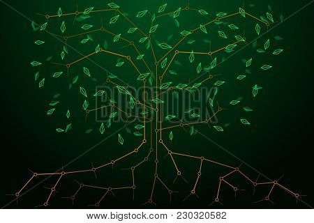 Abstract Background With The Image Of A Synthetic Cyber Tree And Leaves Flying In All Directions. Mo