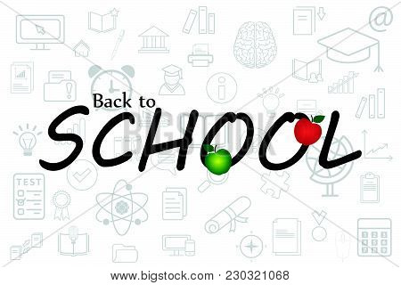 Pattern Of Welcome Back To School. Back To School Background. Vector Illustration. ..