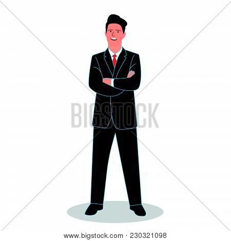 Businessman Crossed His Arms. Vector Illustration On A White Background