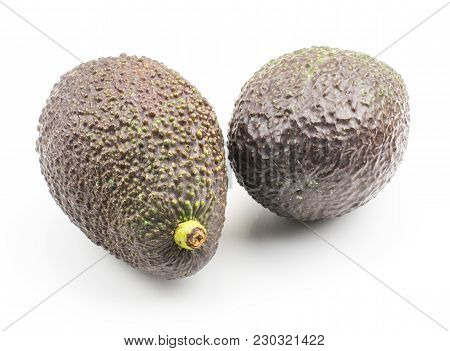 Two Green Brown Avocado Isolated On White Background Ripe Alligator Pear