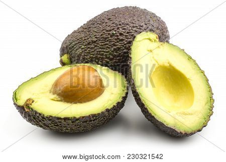 One Avocado With Two Sliced Halves Isolated On White Background Ripe Green Brown Alligator Pear