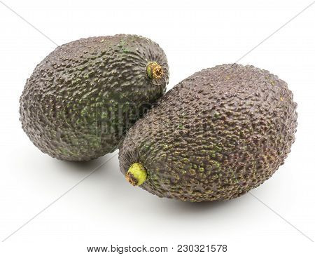 Two Whole Avocado Isolated On White Background Ripe Green Brown Alligator Pear