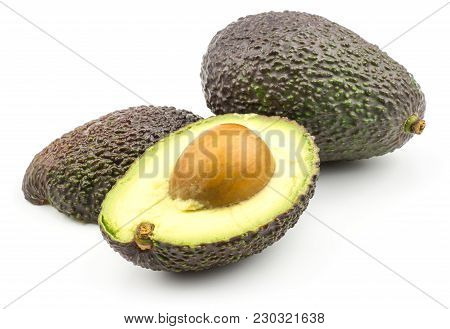 One Avocado And Two Section Halves Isolated On White Background Ripe Green Brown Alligator Pear