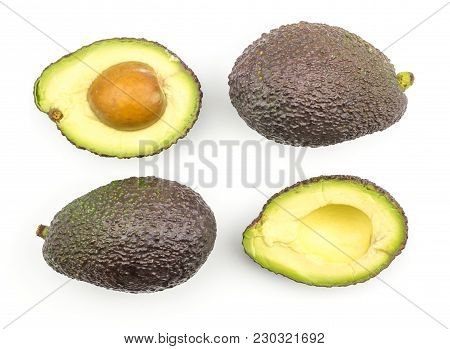 Avocado Pattern Top View Isolated On White Background Ripe Green Brown Alligator Pear