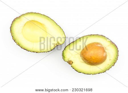 Sliced Avocado Top View Isolated On White Background Ripe Green Brown Alligator Pear Two Halves With
