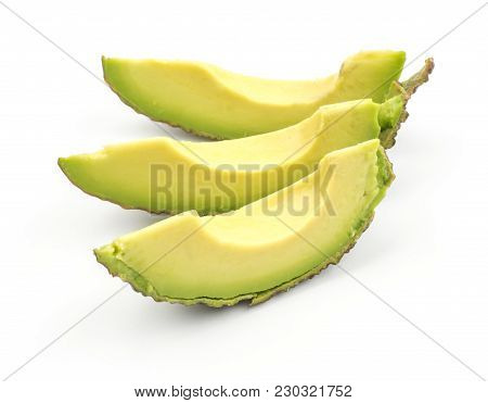Three Avocado Slices Isolated On White Background Ripe Green Brown Alligator Pear