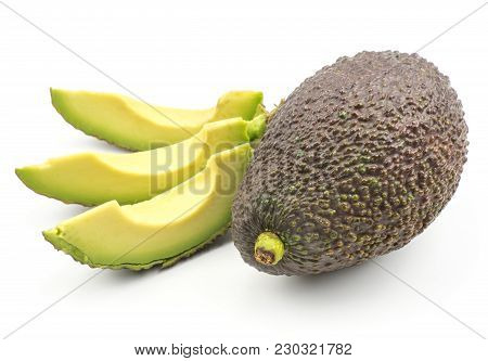 Avocado One Whole And Three Slices Isolated On White Background Ripe Green Brown Alligator Pear