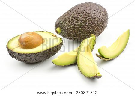 Avocado One Half Three Slices Isolated On White Background Ripe Green Brown Alligator Pear With A Se