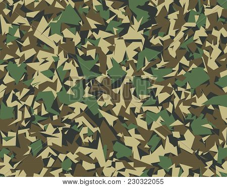 Abstract Color Military Camouflage Background. Pattern Of Geometric Triangles Shapes For Army Clothi