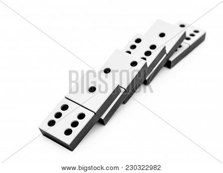 Row Of Falling Domino Pieces On White.