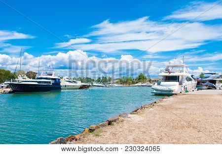 Halkidiki, Greece - 22 June 2017: Boats And Yachts In The Marina Of The Luxury  Sani Resort, Kassand