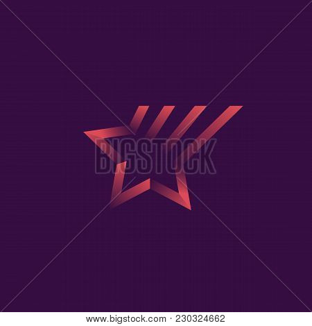 Vector Gradient Logo Of Shooting Star. Ribbons With Shadows, Outline Logotype.