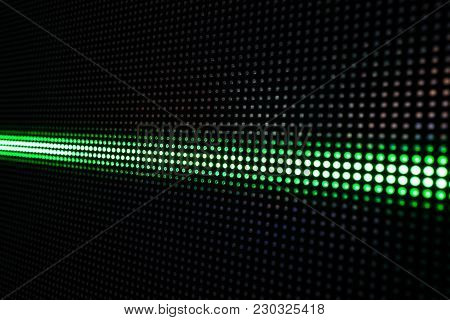 Abstract Background With Green Lights, Green Stretch Of Led Lights, Shiny Dots, Dark Green Cool Back