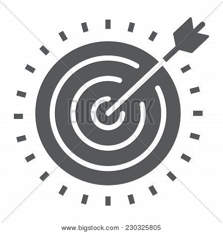 Target Glyph Icon, Development And Business, Dartboard Sign Vector Graphics, A Solid Pattern On A Wh