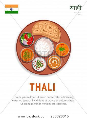 Thali. National Indian Dish. Vegetarian Food. View From Above. Vector Flat Illustration.