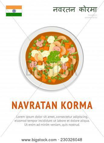 Navratan Korma. National Indian Dish. Vegetarian Food. View From Above. Vector Flat Illustration.