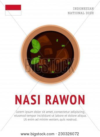 Nasi Rawon. National Indonesian Dish. View From Above. Vector Flat Illustration.