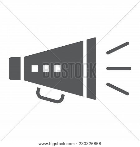 Promotion Glyph Icon, Development And Business, Loudspeaker Sign Vector Graphics, A Solid Pattern On