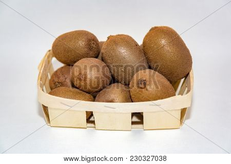 Fruits Of Kiwi In A Basket