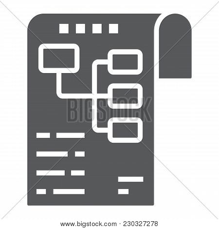Planning Glyph Icon, Development And Business, Business Plan Sign Vector Graphics, A Solid Pattern O