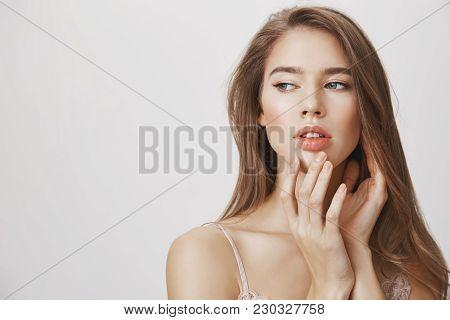 Makeup Underline Natural Beauty. Studio Shot Of Affective Romantic Caucasian Woman With Clean Skin G