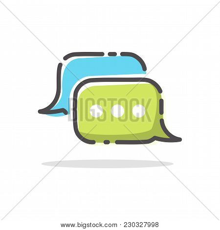 Chitchat App Logo. Dialog Bubble Vector Icon. Isolated Speech Symbol On White Background