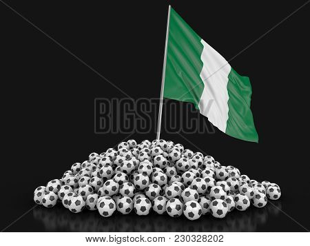 3d Illustration. Soccer Footballs With Nigerian Flag. Image With Clipping Path