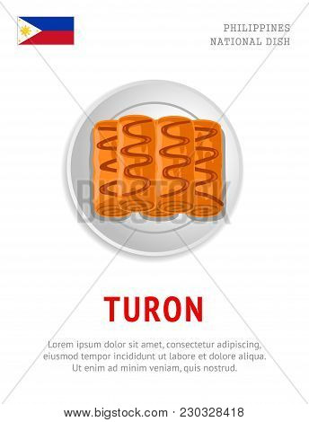 Turon. National Filipino Dish. View From Above. Vector Flat Illustration.